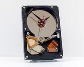 upcycled desk clock, geek gift,  computer disk clock, industrial  style clock, steampunk clock, unique, Recycled Computer Hard Drive Clock
