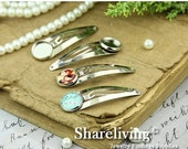 20% OFF SALE - 10pcs 48mm Silver Hair Snap Clip With 12mm Cameo Base Setting  HA015