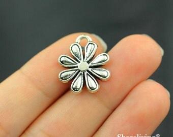 14pcs  Daisy Charms Pendant Antique Silver Tone Cute flower Charm - SC214