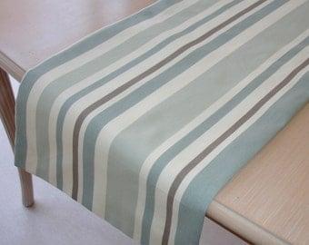 "84"" Table Runner 210cm Duck Egg Beige and Cream Neutral Stripes NEW 7ft Striped Neutrals Stripe"