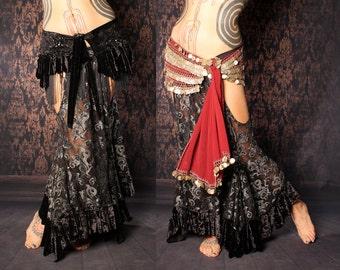 Long Gypsy Skirt, black silver Mermaid skirt. lace belly dance skirt. cutout hip Skirt. tribal fusion, steampunk, Gothic Bridal Skirt