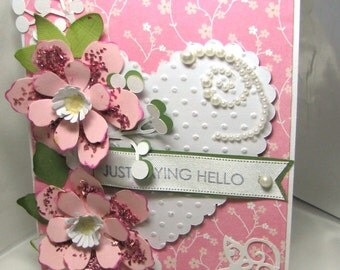Valentine Greeting Card - Handmade Greeting Card - Greeting Card - Hello Greeting Card