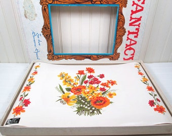 Vintage Vinyl Placemats Set In Box Orange Flowers Floral Fantacy Town & Country