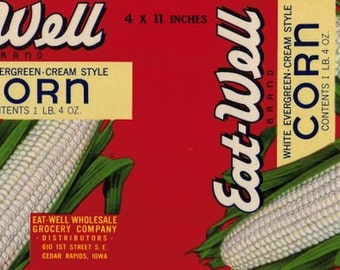 Variety of Vintage Canned Food Labels UnUsed New Old Stock  5 of each  White Corn and Tomatoes