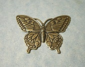 Oxidized Brass Butterfly Stamping, Brass Stamping, Top Drill for Necklace Pendant