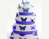 NEW YEAR SALE 12 pack Lavender Blue Butterflies great for Cake Toppers, decorations, wall art and parties