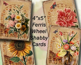 "Florals -JPG Digital Collage Sheet Download -Shabby Chic Ferris Wheel and 4""X5"" Cards-Printable Instant Download-NeW LoWER PRiCE"
