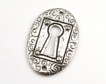 Keyhole link component, two hole Green Girl Studios, long flat oval 2 hole, lead free pewter 31mm