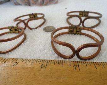4 Vintage Brass Spring Bracelet Blanks, Child Size