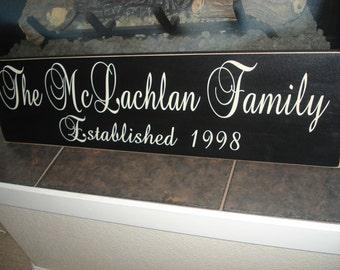 CUSTOM Family Name Wooden Sign: Established date