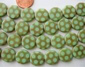Lot of 10 Light Green Dot Sandblasted 15mm Coin Disc Czech Glass Beads