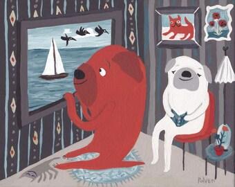 Dogs on the Water Art Painting - Whimsical Original Outsider Folk Artwork Lake Ocean- Pug Bulldog - Grey Orange Blue Boat Wall Decor Artwork