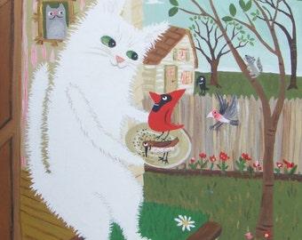 "Cat Bird Lover Art Painting - Whimsical Folk Art Cardinal Finch Crow Original White Persian Cat Birder Artwork Wall Decor 11""x14"" on Canvas"