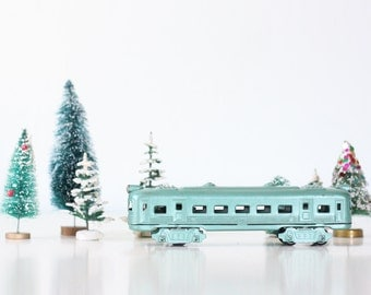 Vintage Toy Train, Green Metal Train Car, Japan