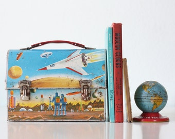 Vintage Astronaut Lunch Box, Thermos, 1960s