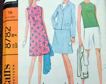 Vintage 1960's Sewing Pattern McCall's 8782 Misses' Separates Jacket, Blouse, Skirt, Shorts  Size 10 Bust 31 inches  Complete