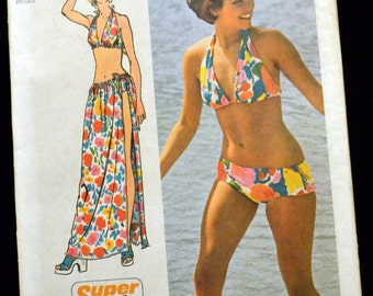 Vintage 70s Super Jiffy Sewing Pattern Simplicity 5644 Misses' Bikini and Sarong Size 12-14 Bust 34-36 Inches UNCUT Complete