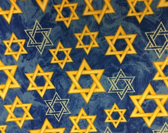 Judaic Fabric Blue and Gold Stars on  Blue Half Yard Inspirations by Windham Fabrics