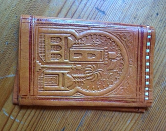 vintage leather wallet embossed India brown  old  stock style bifold