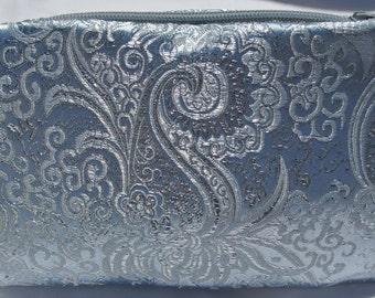 Powder Blue and Silver Fabric Evening Bag , Small Clutch Purse , Formal Handbag , Wedding Purse , Bridal Bag , Pocketbook , Bridesmaid Purse