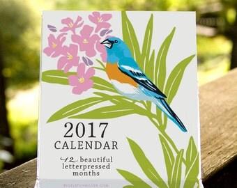 Birds & Gardens Letterpressed 2017 Desktop Calendar