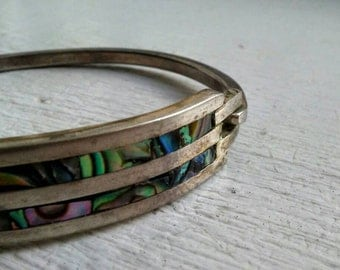 Vintage Abalone Mexican Hinged Nickel Silver Bangle Bracelet