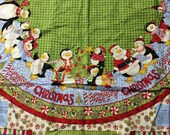 Penguins Christmas Tree skirt panel set of 2 - Debbie Mumm Peppermint Penguins