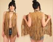ViNtAgE 60's 70's Suede Fringe Beaded Vest // Woodstock Era // Fringe Beads Leather Rocker Hippie Gypsy Festival Bohemian S/M