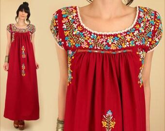 ViNtAgE 70s Oaxacan Dress Floral Embroidered Mexican Maxi // Cotton Rainbow // Artisan Handmade Hippie BoHo Rainbow Floral Wedding m/l