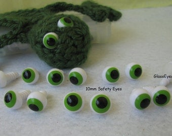 10 Pair 10mm Safety Eyes with Off Center Pupils and Safety Washers Google Style Eyes For Cartoon Characters, Plush Animals, Frogs ( FGE-1 )