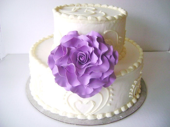 Cake Decoration Flowers Recipe : Purple Rose Cake Flower Cake Topper Wedding Floral Decoration