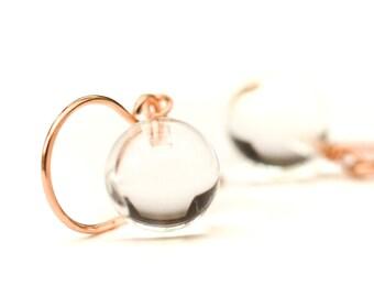 Rose gold earrings rose gold jewelry  clear glass earrings clear drop earrings bridal party clear stone earrings Paka Ua Plump Sphere