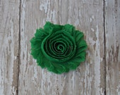 Emerald Green Shabby Chic Frayed Chiffon Rosette Fabric Flower Hair Clip Clippie Christmas Hair Bow Green Rosette Clip