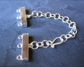 Solid Sterling Silver - 3 Strand Connector Clasp with extender chain