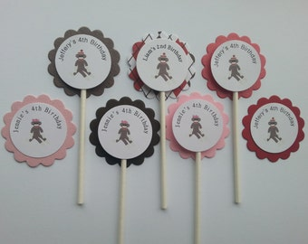 Personalized Sock Monkey  Cupcake Toppers (12)