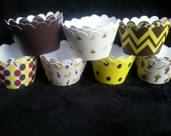 Custom Curious George Cupcake Wrappers (12)