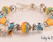 Lampwork Bracelet - Lampwork Blue and Yellow Petal Bali and Karen Hill Tribe Silver Bead Bracelet - KTBL