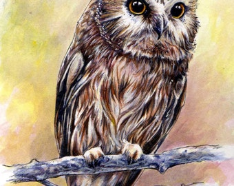"""4x6 matted art print """"Owl"""" painting"""