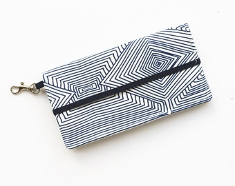Cell Phone Wallet in Navy and White Print - Iphone Wallet - Cell Phone Wallet - Custom Size wallet