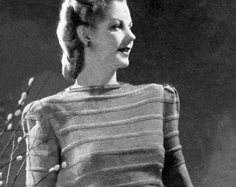 Vintage Ladies Self Strip Effect Jumper, Knitting Pattern, 1940s (PDF) Pattern, Weldons 352