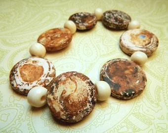 Beaded Bracelet - Plus Size Bracelet - Unique Bold Bracelet - Clay Stone - Earthy Brown Cream Beige - Bold Statement Bracelet - Neutral