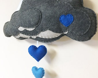 Cloud Mobile, Hanging Mobile - Blue Rain - Felt Hearts, Wall Art, Shades of Blue