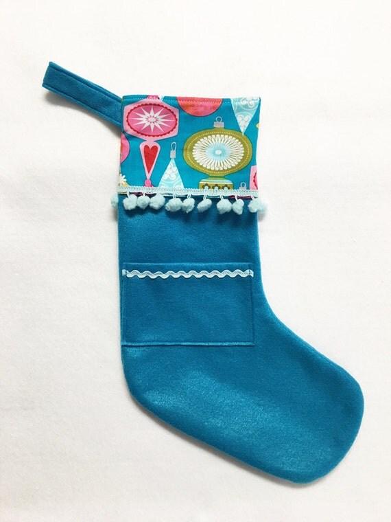 Felt Stocking, Christmas Stocking, Pocket Peeper, Jingle Jangle - Teal Stocking