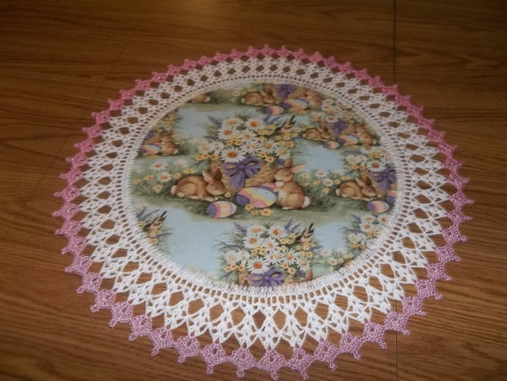 Easter Doily Bunny Rabbits Spring Flowers 20 Inch Fabric Doilies Handmade Lace Table Topper Centerpiece Crocheted Edge Gift
