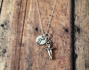 Ballerina initial necklace - ballet jewelry, gift for ballerina, dancer necklace, ballerina jewelry, gift for dancer, silver ballet necklace