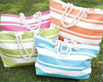 Monogrammed (or Plain) Beach Tote in Stripes