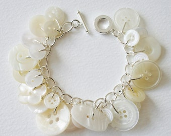 Button Bracelet Bridal White and Creamy Pearl