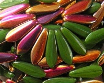 Czech Glass Dagger Beads COLORFUL FLOWER GARDEN 16x6mm 10-25