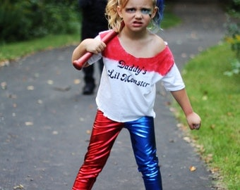 Harley Quinn Suicide Red Blue Split Stretch Lycra Leggings Pants Child Toddler Kids All Sizes MTCoffinz