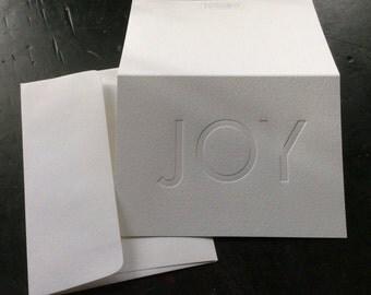 Joy - Letterpress holiday card with blind hit, blank inside